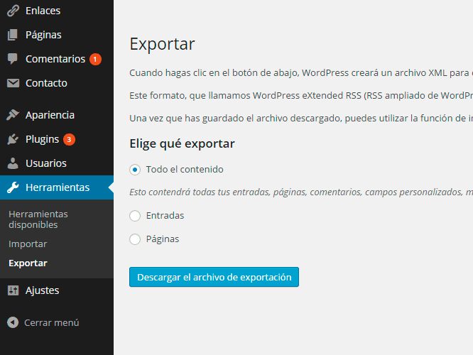 Exportar WordPress.com a WordPress.org. Diferencias entre WordPress.org y WordPress.com